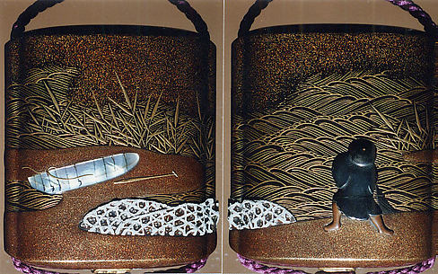 Case (Inrō) with Design of Fisherman, Boat, Reeds, and Stone Basket Breakwaters