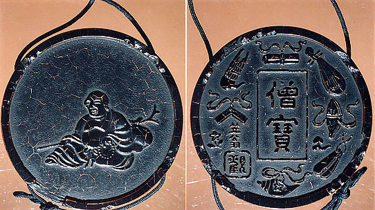 Case (Inrō) in the Shape of an Ink Stick with Design of Hotei (Putai) (obverse); Musical Instruments (reverse)