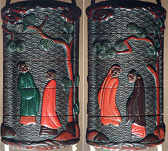 Case (Inrō) with Design of Chinese Persons Beneath Pine Trees and Clouds