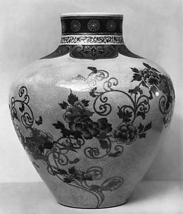 Jar with Scrolling Peony Design