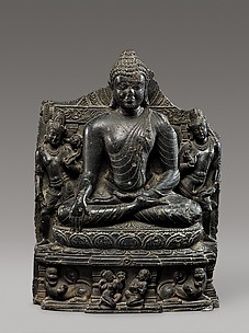 Seated Buddha Reaching Enlightenment, Flanked by Avalokitesvara and Maitreya