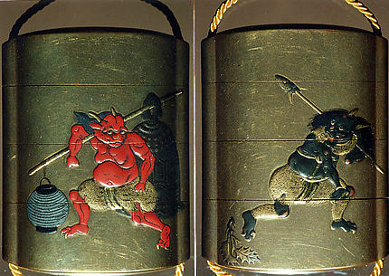 Case (Inrō) with Design of an Onî (Demon) Carrying a Temple Bell and Paper Lantern over His Shoulder (obverse); Onî Carrying Fish Head Stuck on a Pole and Holly Branch (reverse)