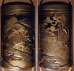 Case (Inrō) with Design of Thatched Buildings Beside River Landscape