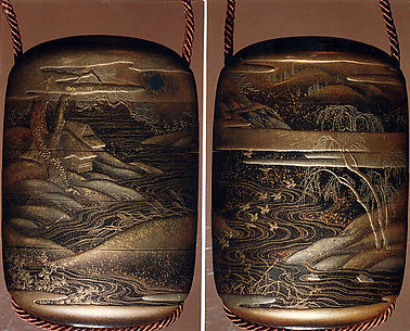 Case (Inrō) with Design of Winding River, Birds in Flight, Trees and Clouds