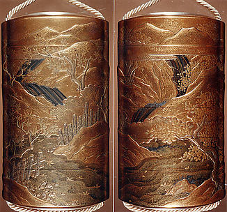 Case (Inrō) with Design of River in Spring with Flowering Cherry Trees (obverse); River in Autumn with Maple Leaves (reverse)