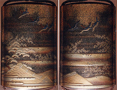 Case (Inrō) with Design of Geese in Flight above Thatched Roofs and Pines