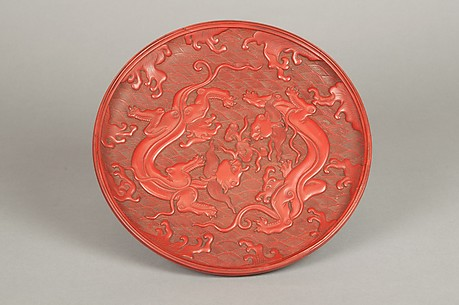 Tray with Design of Dragons in Waves