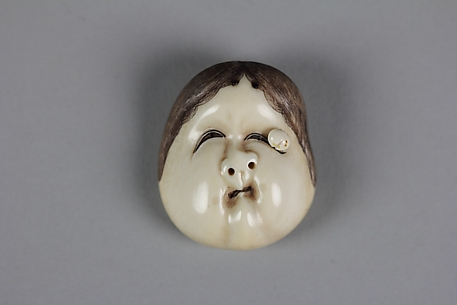 Netsuke of Noh Mask: Usume with Wart