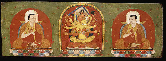 Book Cover with Manjuvajra and Consort Flanked by Lamas