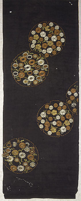 Piece from a Kosode with Pattern of Scattered Snow Roundels (Yukiwa) Filled with Small Flowers