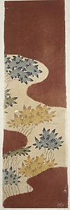 Piece from a Robe (Kosode) with Pattern of Maple Leaves