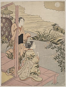 Two Girls on a Veranda beside a Stream with the Moon