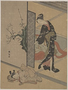 Young Lady Looking through Door at Her Kamuro (Little Servant) who is Asleep on the Floor