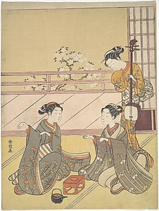 Young Women Playing Kitsune-ken (Fox Game)