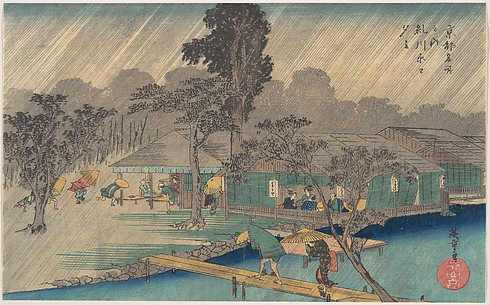 Tea-houses on the Bank of the Tadasu River in a Shower