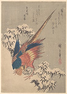 Pheasant Among Snow–laden Bamboo on Hillside