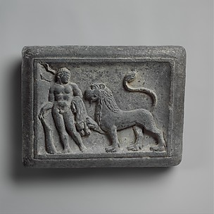 Wrestler's Weight with Hercules and the Nemean Lion; Wrestling Scene (reverse)
