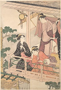 Three Geisha on Balcony with Instruments