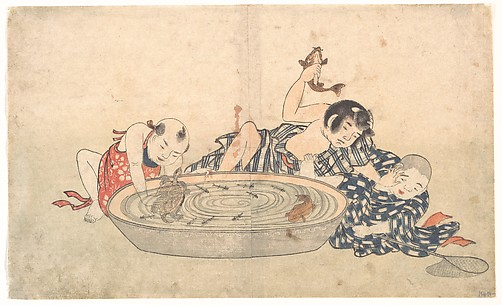Boys Playing with a Basin of Fish and Turtles
