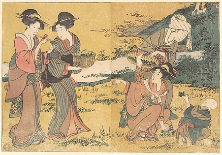 Girls Picking Green Leaves, from the illustrated book Flowers of the Four Seasons