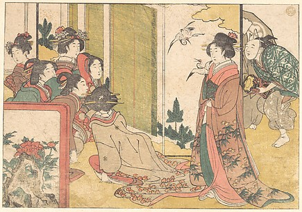 Girls Entertained by Performers, from the illustrated book Flowers of the Four Seasons