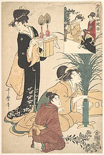 A Woman and a Man Arranging Flowers for the Tsukimi (Moon Festival)