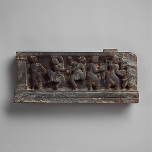 Stair Riser: Dionysian Scene with Musicians and Dancers