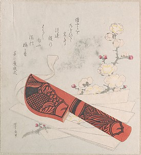 Plum Blossoms, Cut Paper and a Knife in Sheath