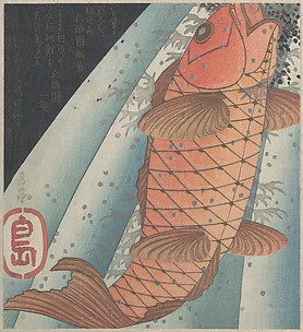 Red Carp Swimming up a Waterfall, a Symbolic Representation of Aspiration