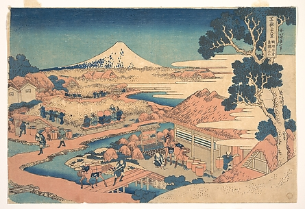 Fuji from the Katakura Tea Fields in Suruga (Sunshū Katakura chaen no Fuji), from the series Thirty-six Views of Mount Fuji (Fugaku sanjūrokkei)