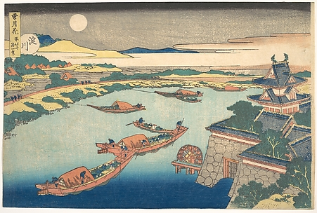 Moonlight on the Yodo River (Yodogawa), from the series Snow, Moon, and Flowers (Setsugekka)