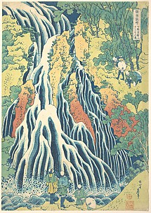 Kirifuri Waterfall at Kurokami Mountain in Shimotsuke (Shimotsuke Kurokamiyama Kirifuri no taki), from the series A Tour of Waterfalls in Various Provinces (Shokoku taki meguri)