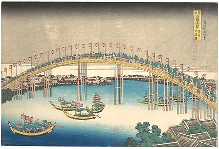 Tenman Bridge at Settsu Province (Sesshū  Tenmanbashi), from the series Remarkable Views of Bridges in Various Provinces (Shokoku meikyō kiran)