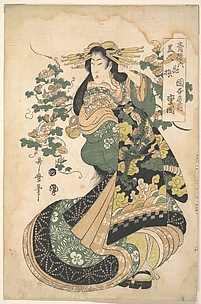 A Courtesan with Morning-glories on the Background