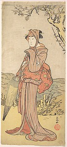 Iwai Kiyotaro as a Woman Standing under a Plum Tree