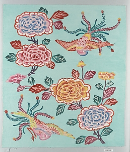 Bingata Panel with Tree Peonies and Peacocks