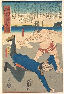 Sumo Wrestler Tossing a Foreigner