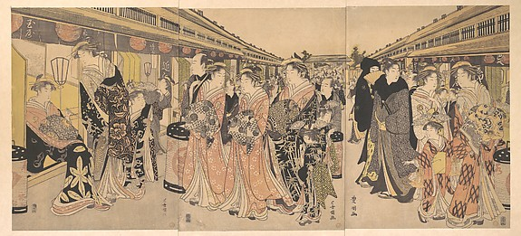 Courtesans Promenading on the Nakanochō in Yoshiwara