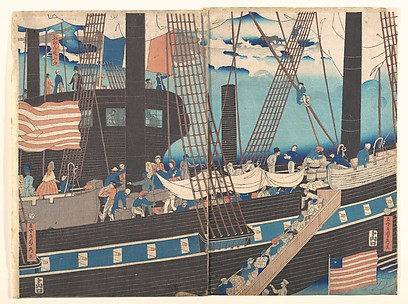 Foreign Traders at Yokohama Transporting Merchandise to Foreign Ships