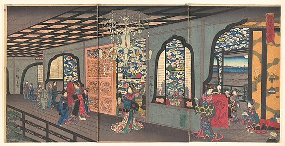 Upper Floor of the Gankirō Tea House in Yokohama