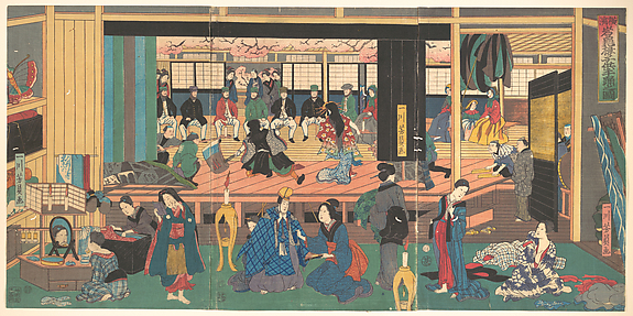 Foreigners Enjoying Children's Kabuki at the Gankirō Tea House