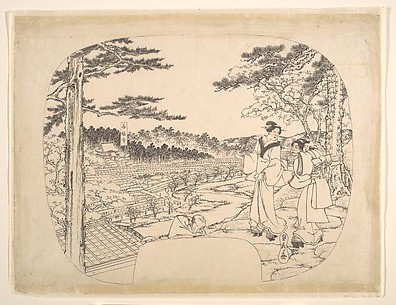 Two Women Admiring the Sights from a Vantage Point Overlooking the Zenpukuji Temple