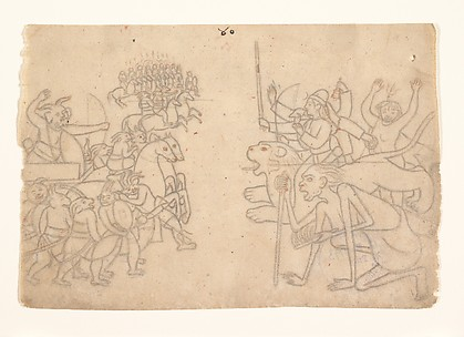 Durga and Kali Approach the Gathered Armies of Chanda and Munda: Scene from the Devi Mahatmya