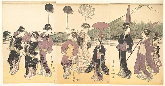 Women Parading in an Imitation of the Cortege of a Daimyo