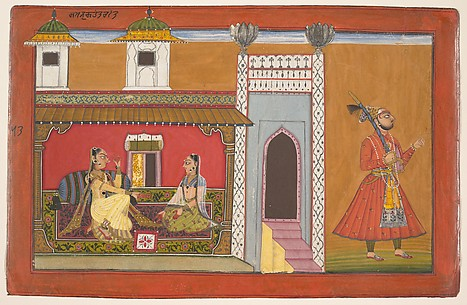 A Courtesan and Her Lover Estranged by a Quarrel:  Page from a Rasamanjari series