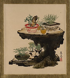 Lacquer Paintings of Various Subjects: Bonsai