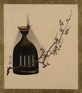 Lacquer Paintings of Various Subjects: Plum Branch with Oil Lamp