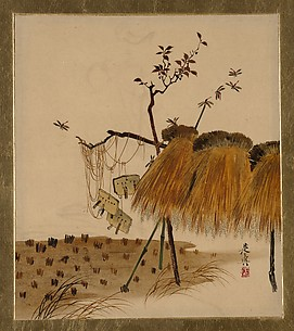 Lacquer Paintings of Various Subjects: Stack of Rice and Dragonflies