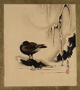 Lacquer Paintings of Various Subjects: Bird and Willow in Snow