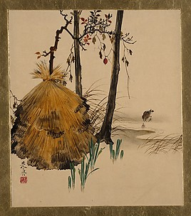Lacquer Paintings of Various Subjects: Snow Shelter for a Tree with Sparrow